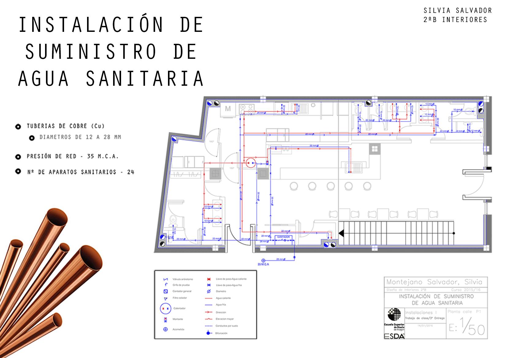 Escuela superior de dise o de arag n proyecto instalaciones for Plantas para estanques de agua fria
