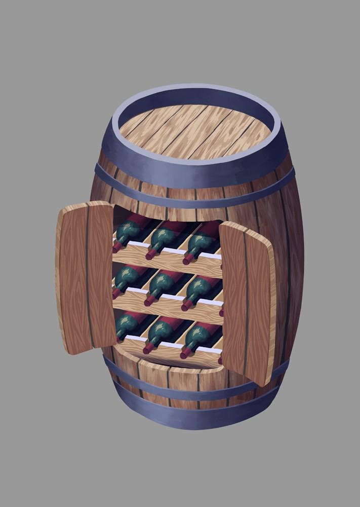 Escuela superior de dise o de arag n proyecto ilustraciones for Barril mueble bar